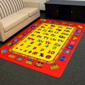 DonnieAnn Paradise Red Alphabets Train Design Area Rug (5'x7')