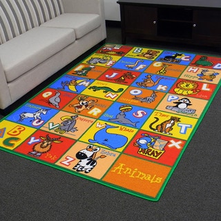 Paradise Animal Alphabets Multi-color Area Rug (5x7)