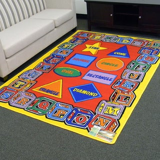 DonnieAnn Paradise Red Alphabets Blocks and Shapes Area Rug (5'x7')