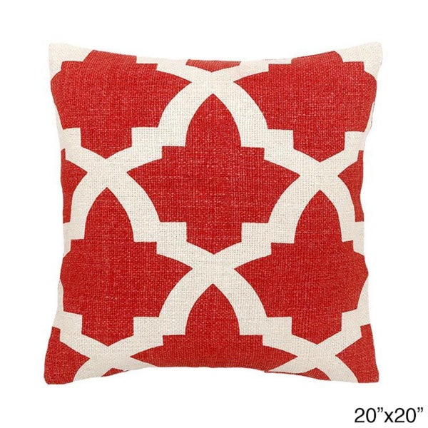 Coral/ White Maui Decorative Throw Pillow