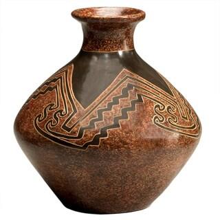 Handmade Angular Petryglyph-style Decorative Vase (Nicaragua)