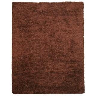 EORC OSHG1BN Brown Handmade Wool and Viscose Shaggy Rug (5' x 8')