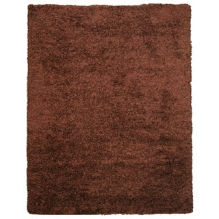 EORC OSHG1BN Brown Handmade Wool and Viscose Shaggy Rug (8' x 10')