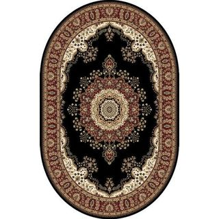 Oval Traditional Black Oval Area Rug (3'11 x 5'2)