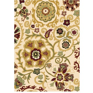 Revolution Contemporary Beige Area Rug (5'3 x 7'7)