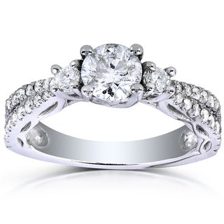 Annello 14k White Gold 1 1/4ct TDW Three Stone Diamond Engagement Ring (H-I, I1-I2)