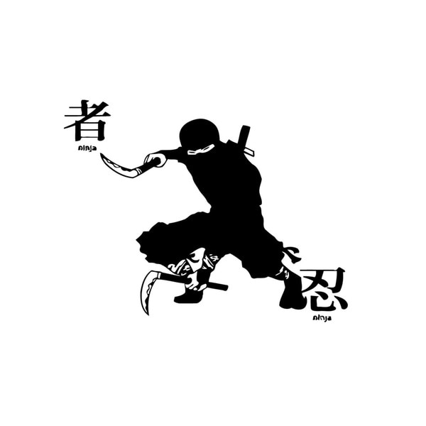Ninja with Dual Kama Wall Vinyl Art