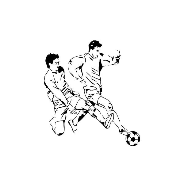 Two Guys Playing Soccer Wall Vinyl Art