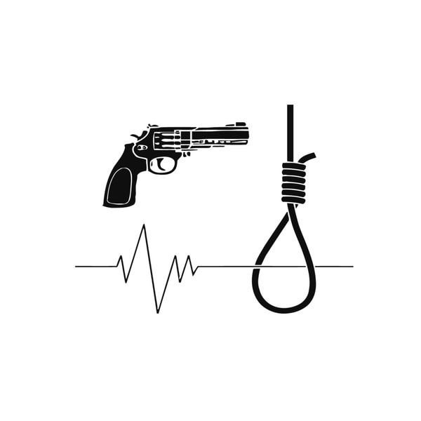 Noose, Gun, and Heart Beat Wall Vinyl Art