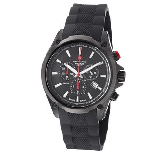 Swiss Alpine Military Men's 1635.9877 SAM 'Red force' Black Dial Black Rubber Strap Chronograph Watch