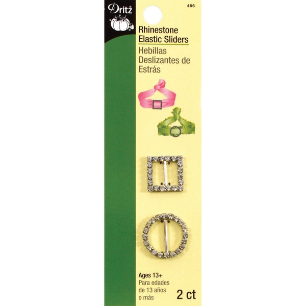 Dritz Rhinestone Elastic Sliders Circle And Square (2-pack)