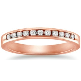 Auriya 10k Rose Gold 1/4ct TDW Channel-set Diamond Wedding Band (J-K, I2-I3)