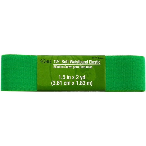 Dritz Soft Waistband Elastic 1-1/2 inches x 2 Yards - Green