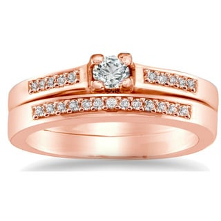 Auriya 10k Rose Gold 1/4ct TDW Round Diamond Bridal Ring Set (I-J, I1-I2)