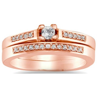 Auriya 10k Rose Gold 1/4ct TDW Princess Diamond Bridal Ring Set (I-J, I1-I2)