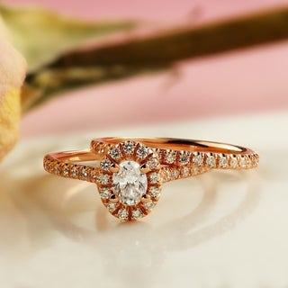 Auriya 14k Rose Gold 1ct TDW Oval Diamond Halo Bridal Ring Set (H-I, SI1-SI2)