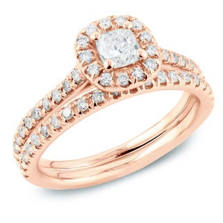 Auriya 14k Rose Gold 1ct TDW Cushion Diamond Halo Bridal Ring Set (H-I, SI1-SI2)