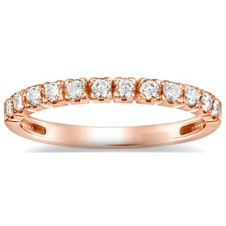 Auriya 14k Rose Gold 4/6ct TDW Round Diamond Wedding Band (H-I, I1-I2)