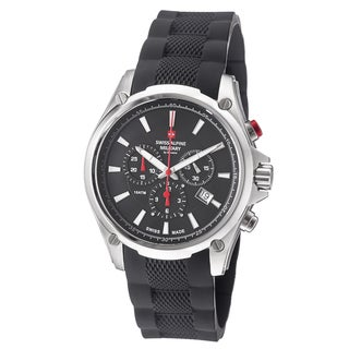 Swiss Alpine Military Men's 1635.9837 SAM 'Red force' Black Dial Rubber Strap Chronograph Watch