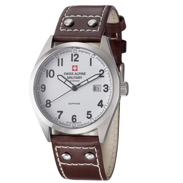 Swiss Alpine Military Men's 1293.1533 SAM 'Leader' White Dial Brown Leather Strap Watch