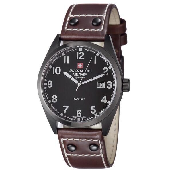 Swiss Alpine Military Men's 1293.1577 SAM 'Leader' Black Dial Brown Leather Strap Watch