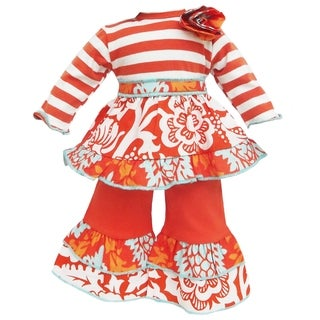 AnnLoren 2-piece Orange Floral Damask Stripes Outfit