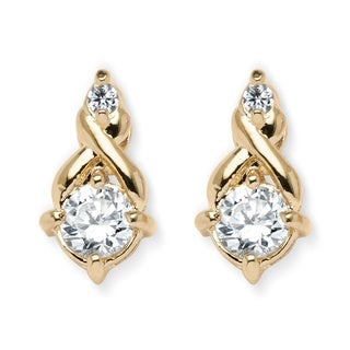 PalmBeach Gold Overlay Round-cut Cubic Zirconia Stud Earrings Classic CZ
