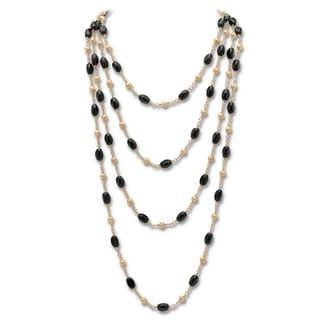 PalmBeach Onyx Barrel Beaded Necklace Naturalist