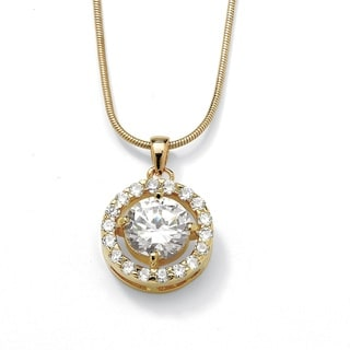 Ultimate Yellow Gold Overlay Cubic Zirconia Halo Pendant Necklace
