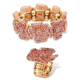 Lillith Star Pink Crystal Stretch Ring and Bracelet Set