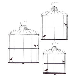 Metal Bird Cage Shelf in Metallic Silver Finish (Set of 3)