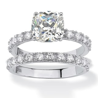 Ultimate Platinum Over Silver Cushion-cut Cubic Zirconia Bridal Ring Set