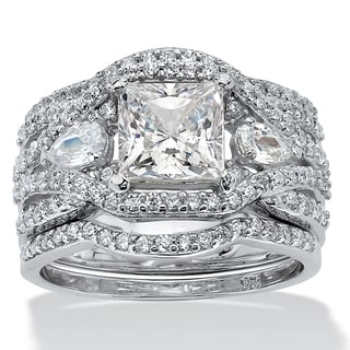 PalmBeach Platinum Over Silver Princess-cut Cubic Zirconia Wide-band 3-piece Bridal Set Glam CZ
