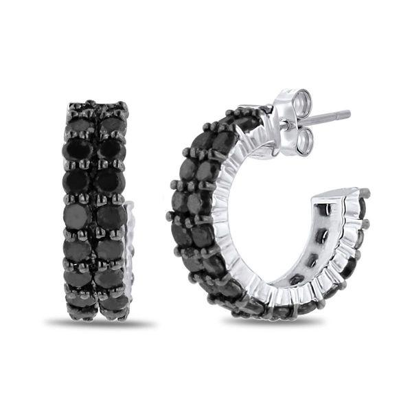 Sterling Silver 2ct Black Diamond Pave Hoop Earrings