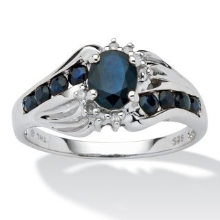 PalmBeach Platinum over Sterling Silver Midnight Blue Sapphire and Diamond Accent Ringe