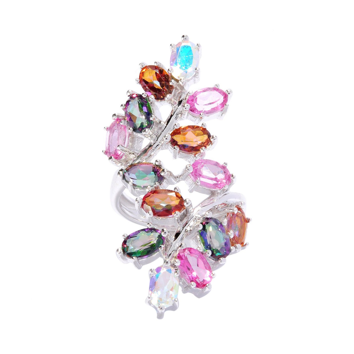 Overstock.com Sterling Silver Multi-color Oval Topaz Leaf North-South Ring