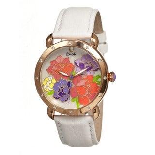Bertha Women's Angela Multi Leather White Analog Watch