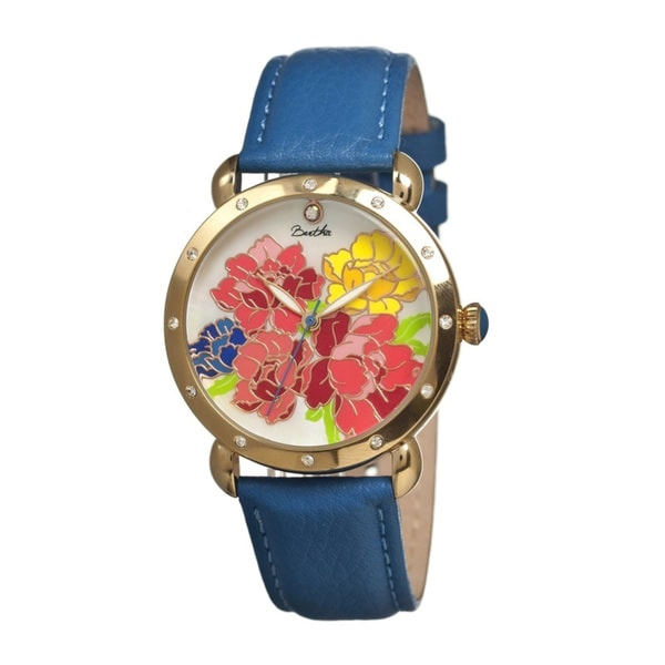 Bertha Women's Angela Multi Leather Blue Analog Watch