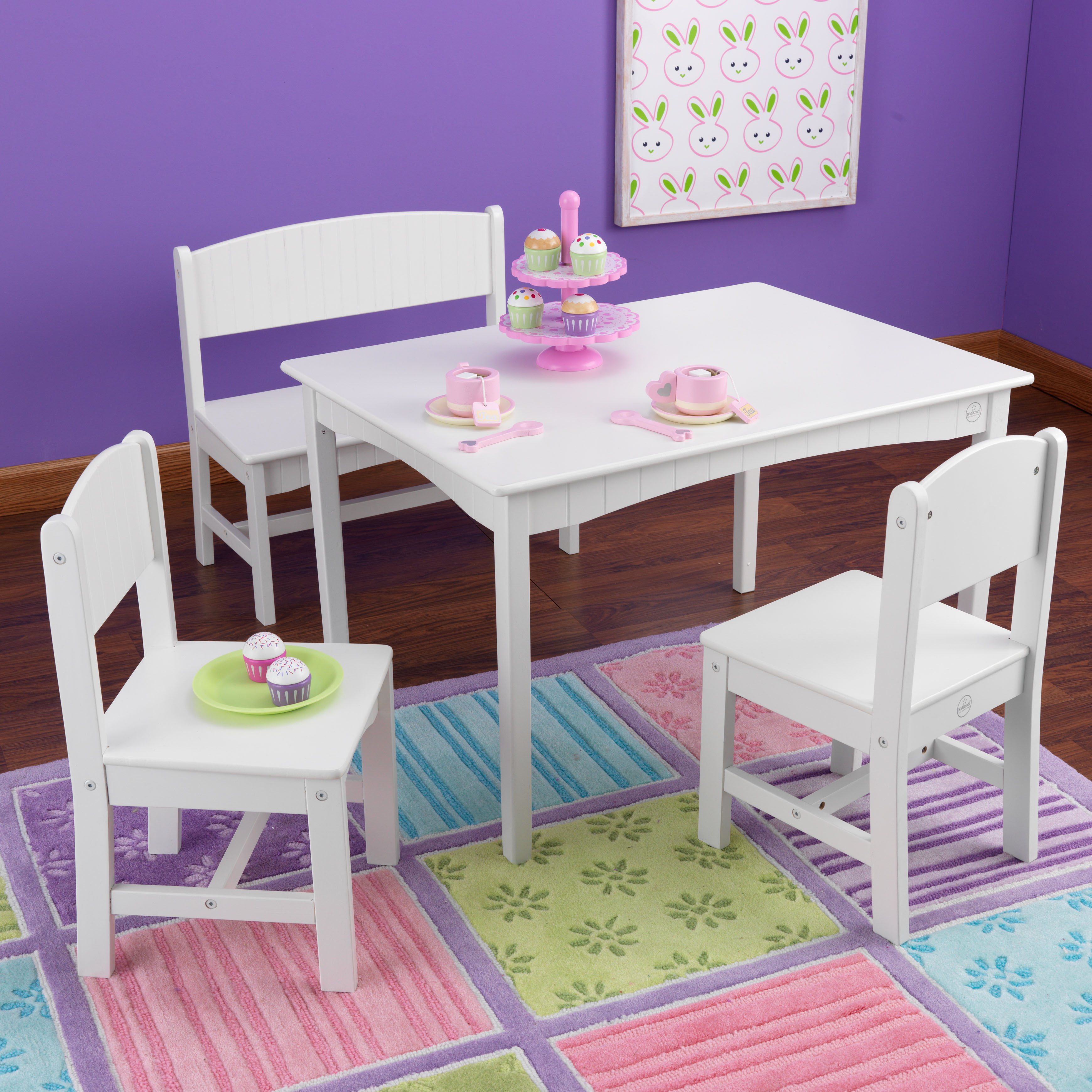 Kidkraft Nantucket 4 Piece Table Bench And Chairs Set