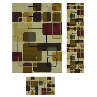 Duo Weave Collection Geometrics Off-white 3-piece Rug Set
