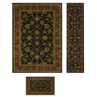Heatset Collection Traditions Black 3-piece Rug Set