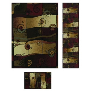 Duo Weave Collection Songs Olive 3-piece Rug Set