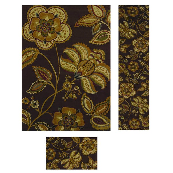 Heatset Collection Flower Power Brown 3-piece Rug Set