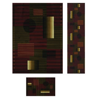 Duo Weave Collection Lines Auburn 3-piece Rug Set