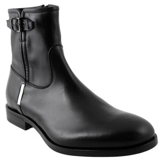 Alessandro Dell'acqua Men's Black Leather Mid-calf Buckled Boots