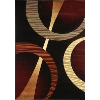 Revolution Contemporary Black Area Rug (5'3 x 7'7)