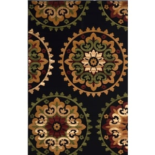 Revolution Contemporary Black Area Rug (7'10 x 10'10)