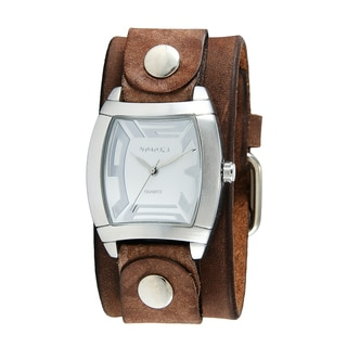 Nemesis Women's Rugged Watch with Brown Leather Cuff Band