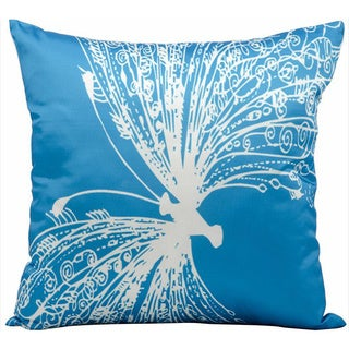Nourison Mina Victory 18-inch Turquoise Butterfly Print Indoor /Outdoor Throw Pillow
