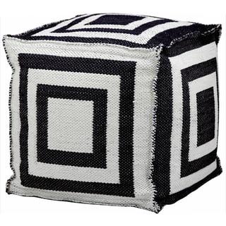 Nourison Mina Victory Black Indoor /Outdoor 16-inch Cube